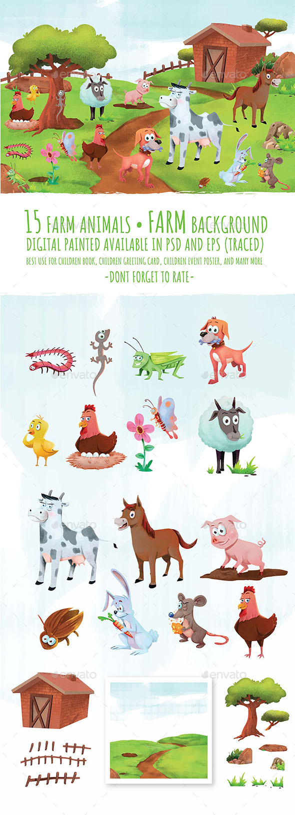 Cute Farm Animals - Animals Illustrations