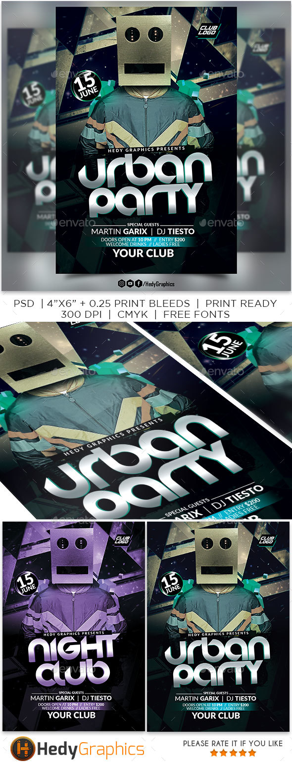 Urban Party Flyer Template - Clubs & Parties Events