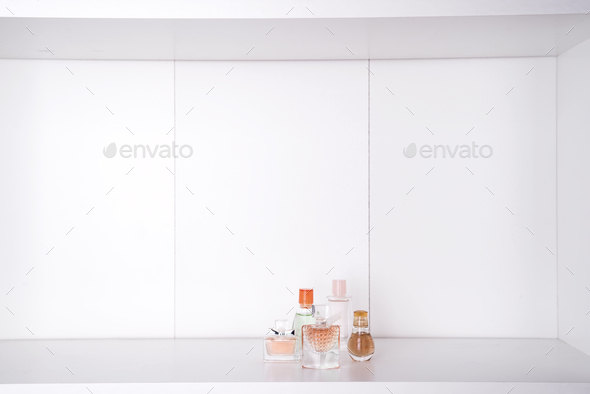 Set of various woman perfumes isolated - Stock Photo - Images