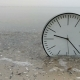 Time Concept Background, Clock in Water on Sand Beach Ocean and Sea Gulls on Horizon - VideoHive Item for Sale