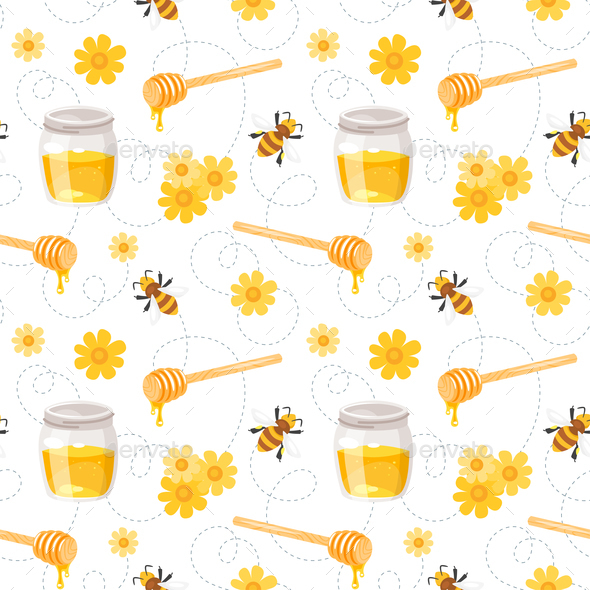 Bee and Honey Pattern - Food Objects
