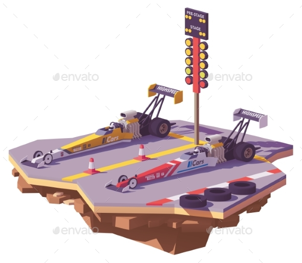Vector Low Poly Top Fuel Drag Race - Man-made Objects Objects