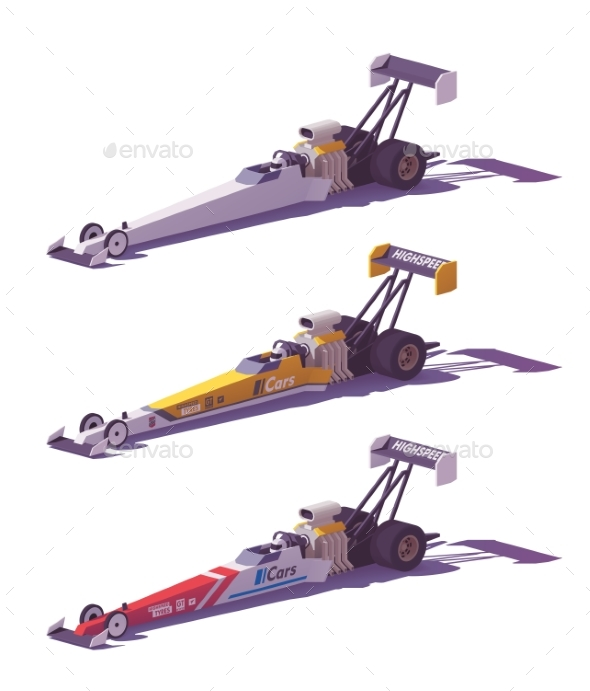 Vector Low Poly Top Fuel Dragsters - Man-made Objects Objects