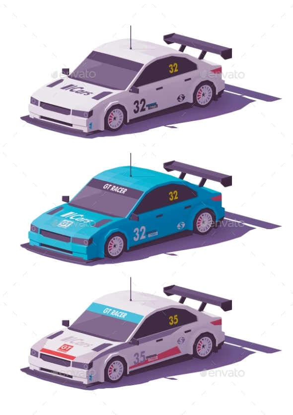 Vector Low Poly Touring Racing Car - Man-made Objects Objects