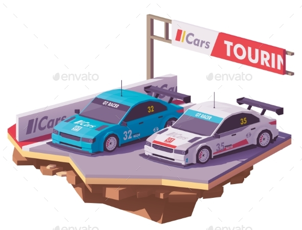Vector Low Poly Touring Racing Cars - Man-made Objects Objects