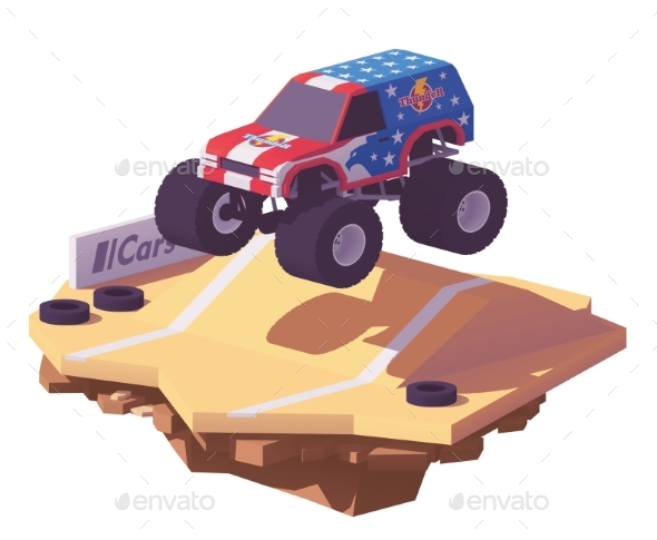 Vector Low Poly Monster Truck - Man-made Objects Objects