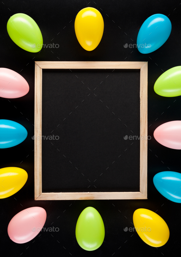 Easter eggs on a black background - Stock Photo - Images