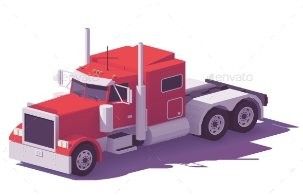 Vector Low Poly American Classic Truck - Man-made Objects Objects