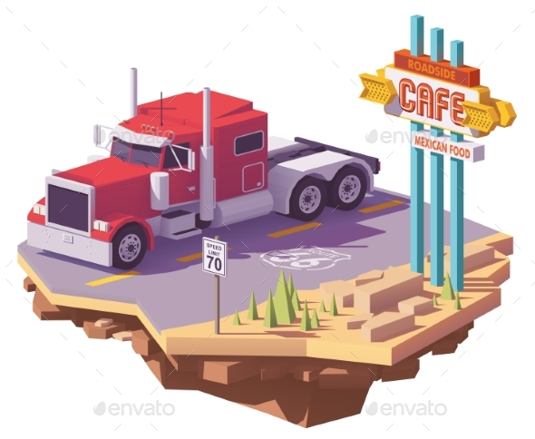 Vector Low Poly American Classic Semi Truck - Man-made Objects Objects