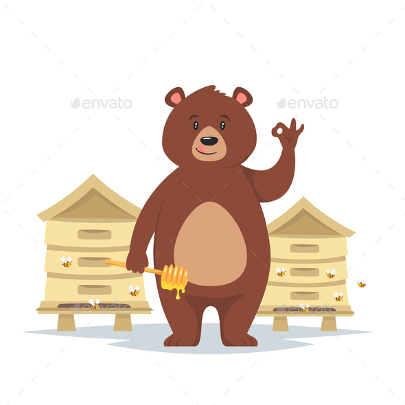 Bear Character Showing a Okay - Animals Characters