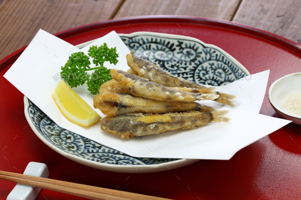 japanese fried fish dish, Mehikari No Karaage - Stock Photo - Images