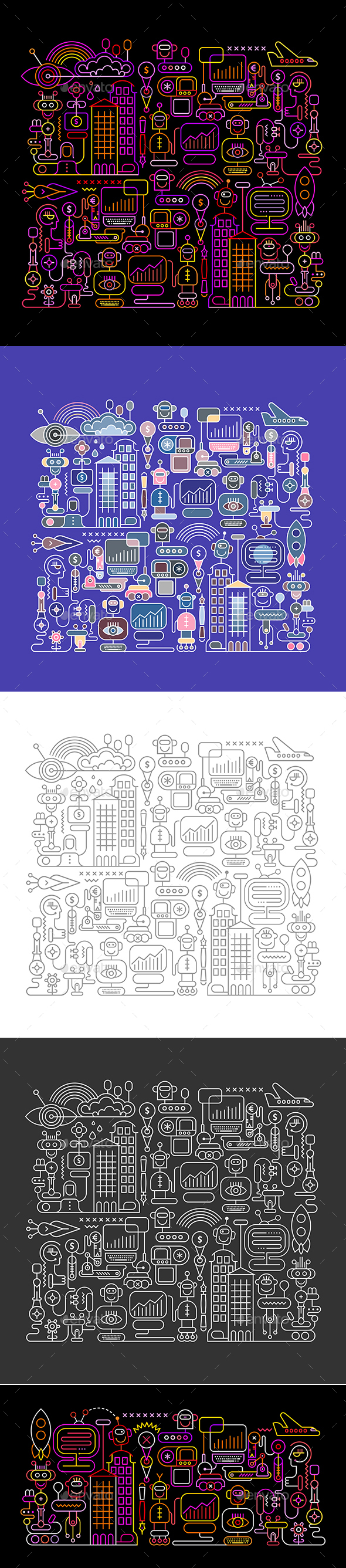 Robot City (Bundle of 5 Options) - Abstract Conceptual