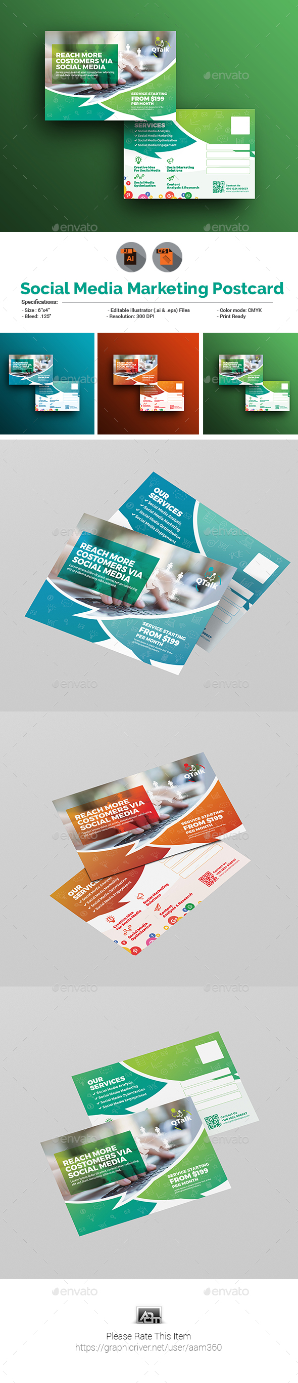 Social Media Marketing Postcard Template - Cards & Invites Print Templates