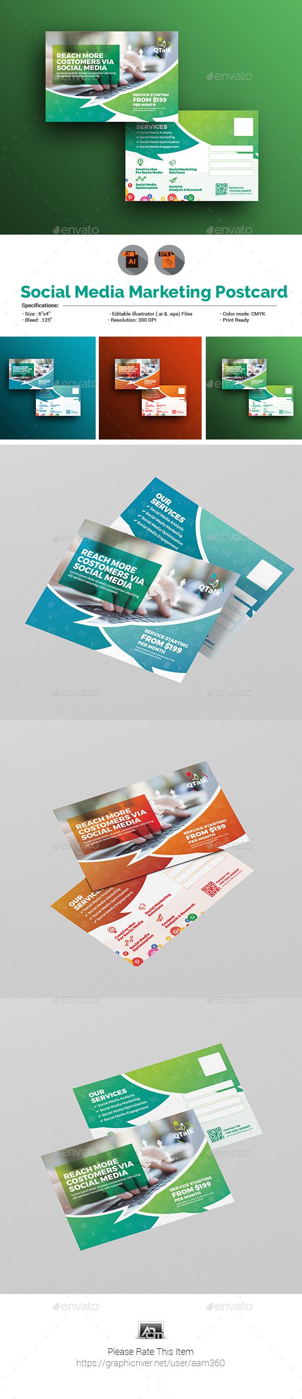 Social Media Marketing Postcard Template By Aam GraphicRiver - Marketing postcards templates