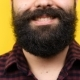Unrecognizable Bearded Man Smiling To the Camera on Yellow Background - VideoHive Item for Sale