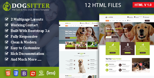 Image of Dog Sitter - Pet Grooming & Pets Shop HTML5 Template