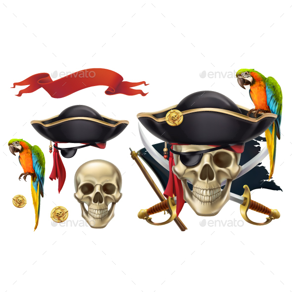 Skull and Parrot - Miscellaneous Vectors
