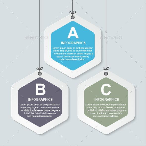 Abstract hexagon infographics template. - Infographics
