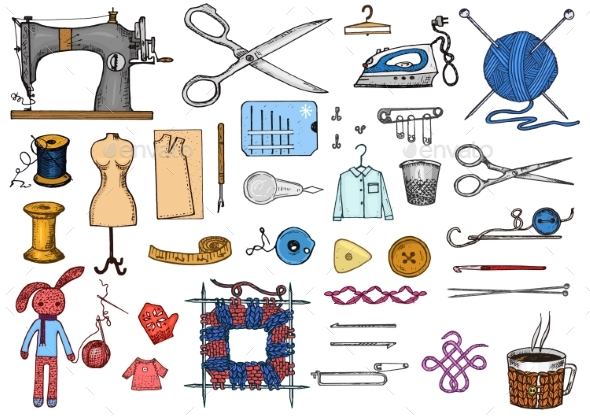 Set of Sewing Tools and Materials or Elements - Miscellaneous Vectors