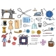 Set of Sewing Tools and Materials or Elements