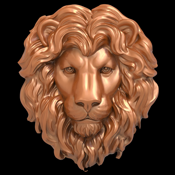 Lion head bas-relief 3D print model - 3DOcean Item for Sale