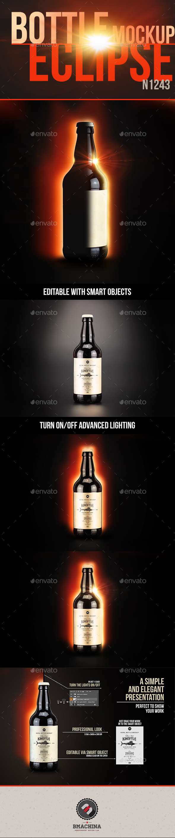 Eclipse Mockup - Bottle N1943 - Product Mock-Ups Graphics