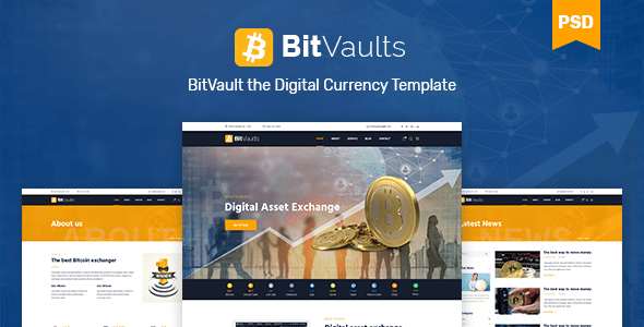 Bitvaults | Bitcoin and Cryptocurrency PSD Template - Business Corporate