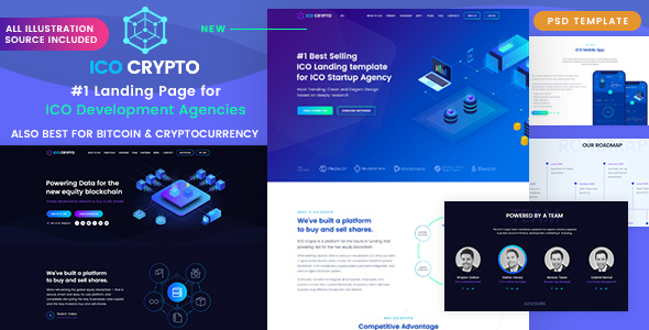 ico crypto bitcoin and cryptocurrency landing page psd template by softnio. Black Bedroom Furniture Sets. Home Design Ideas