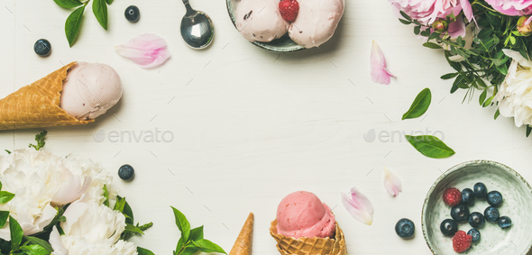 Flat-lay of ice cream scoops and peonies, wide composition - Stock Photo - Images