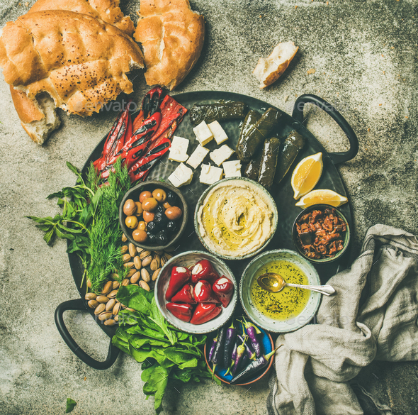 Mediterranean meze starter platter - Stock Photo - Images