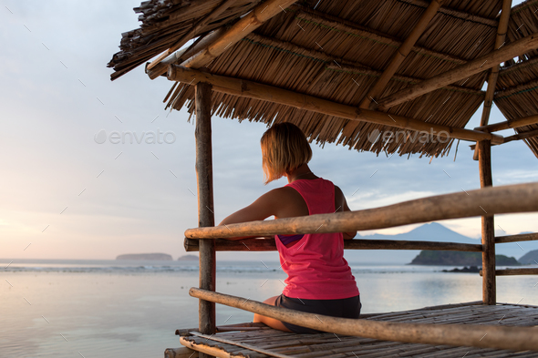 young sporty woman or girl silhouette - Stock Photo - Images