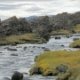 Dramatic Landscape with Small River Is Flowing Between Dark Basalt Rocks, in Cloudy Autumn Day - VideoHive Item for Sale