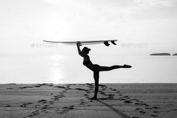 monochrome silhouette of slim sporty girl - Stock Photo - Images