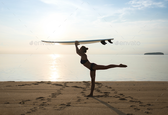 graceful storty girl or young woman keeping balance - Stock Photo - Images