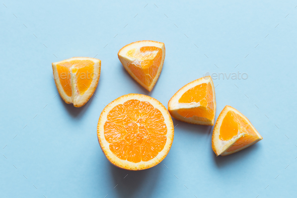 Fresh oranges on the blue background - Stock Photo - Images