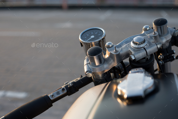 The view over the handlebars of motorcycle - Stock Photo - Images