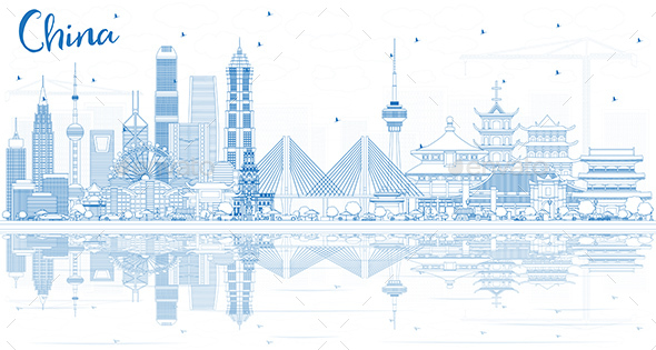 Outline China City Skyline with Reflections. - Buildings Objects