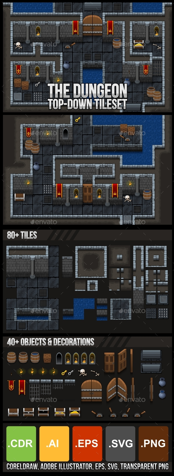 The Dungeon - Top Down Tileset - Tilesets Game Assets