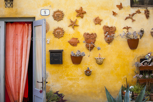 Yellow wall - Italian style - Stock Photo - Images