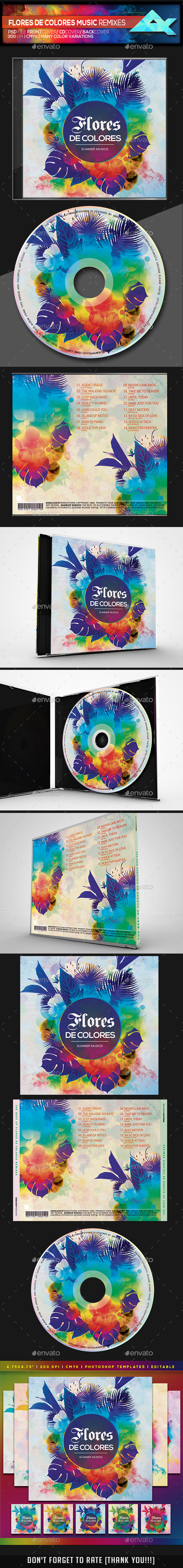 Flores De Colores Summer Musics CD/DVD Photoshop Template - Flyers Print Templates