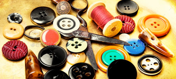 sewing tools for needlework tools - Stock Photo - Images