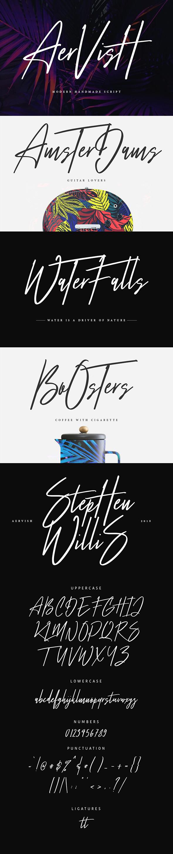 Aervish Typeface - Calligraphy Script
