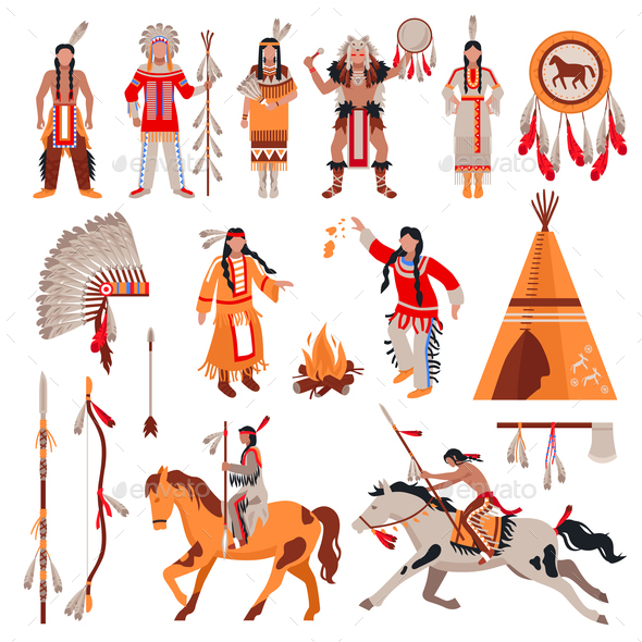 American Indians Decorative Icons Set - People Characters