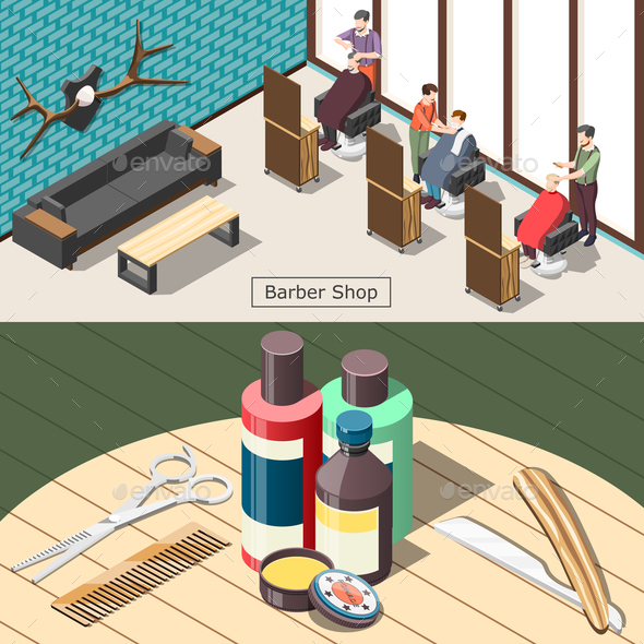 Barbershop Isometric Banners - Miscellaneous Vectors
