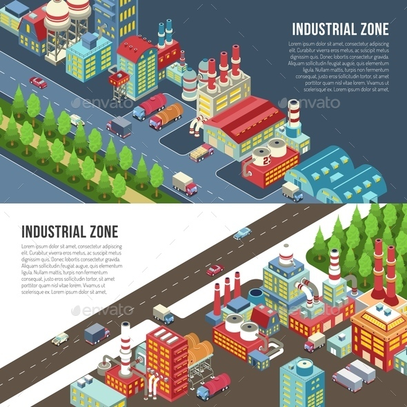 Industrial Zone Horizontal Banners - Business Conceptual