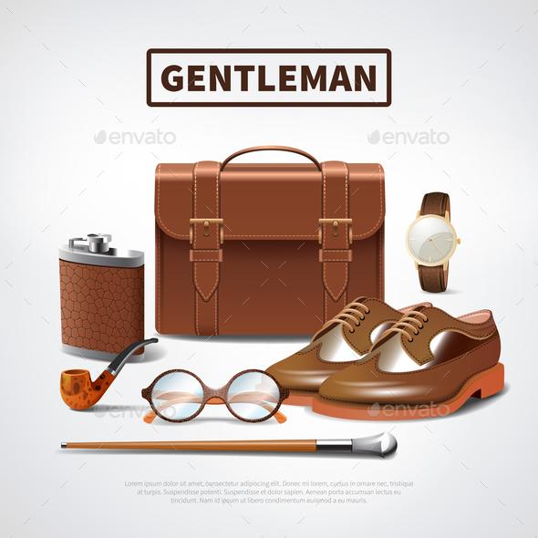 Gentleman Accessories Realistic Set - Business Conceptual