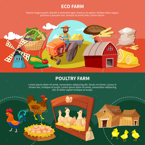 Two Farm Cartoon Banner Set - Food Objects
