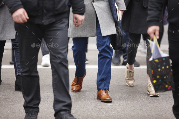 People walking in the city. Urban ambient. Rush hour. Horizontal - Stock Photo - Images