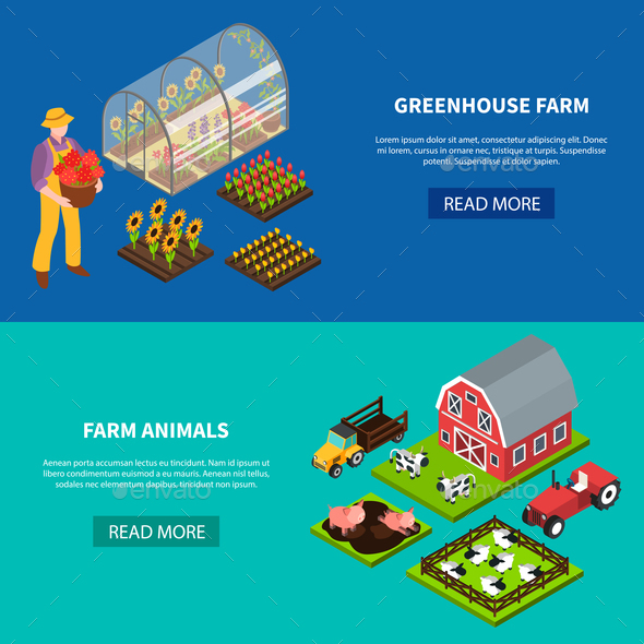 Farm Isometric Banners Set - Animals Characters
