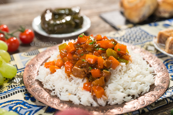Homemade  Indian curry chicken rice - Stock Photo - Images